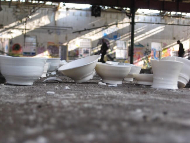Installation, Sheffield, May-June 2009. Thrown porcelain vessels as part of an installation, recorded by photography.