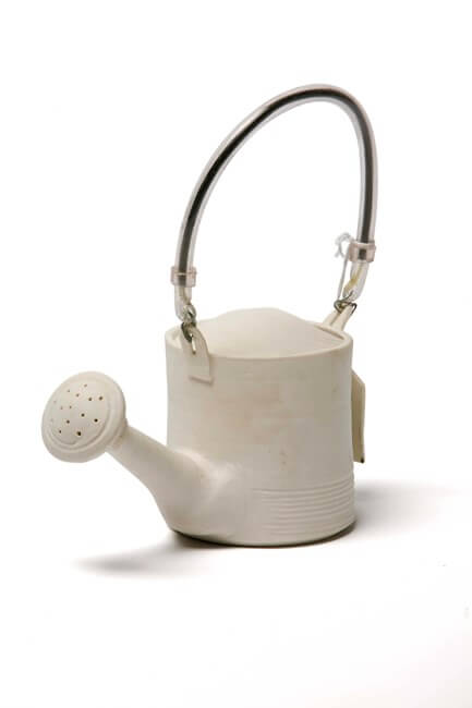 Doubt, thrown  porcelain watering can. Found materials, printed label. 2007. Photographed by Dave Williams.